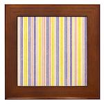 Pink, Purple, Yellow Stripe Framed Tile