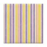 Pink, Purple, Yellow Stripe Tile Drink Coaster