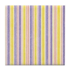 Pink, Purple, Yellow Stripe Tile Drink Coaster