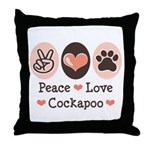 Peace Love Cockapoo Throw Pillow
