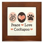 Peace Love Cockapoo Framed Tile