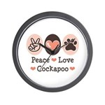 Peace Love Cockapoo Wall Clock