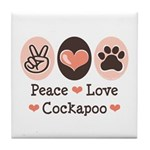 Peace Love Cockapoo Tile Coaster