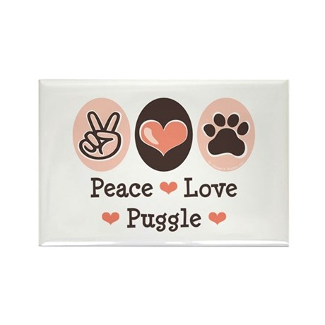 Peace Love Puggle Rectangle Magnet (10 pack)