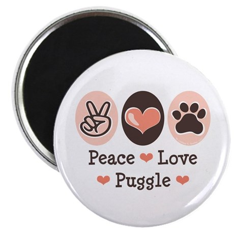 "Peace Love Puggle 2.25"" Magnet (10 pack)"