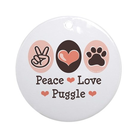 Peace Love Puggle Ornament (Round)
