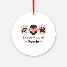 Peace Love Puggle Ornament (Round)