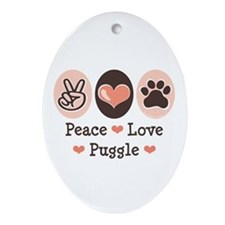 Peace Love Puggle Oval Ornament