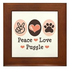 Peace Love Puggle Framed Tile