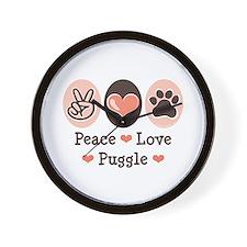 Peace Love Puggle Wall Clock