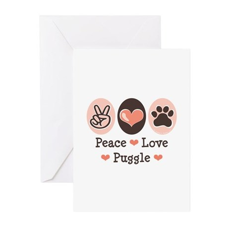 Peace Love Puggle Greeting Cards (Pk of 10)