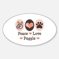Peace Love Puggle Oval Decal