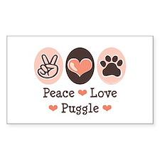 Peace Love Puggle Rectangle Decal