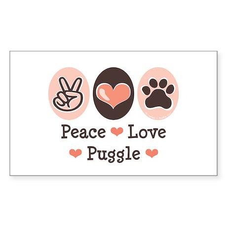 Peace Love Puggle Rectangle Sticker
