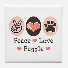 Peace Love Puggle Tile Coaster
