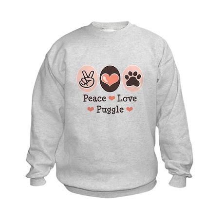 Peace Love Puggle Kids Sweatshirt