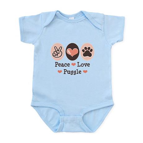 Peace Love Puggle Infant Bodysuit