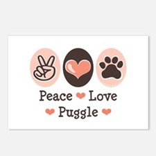 Peace Love Puggle Postcards (Package of 8)