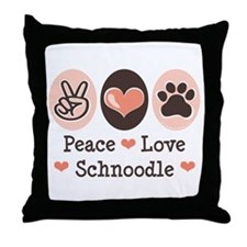 Peace Love Schnoodle Throw Pillow