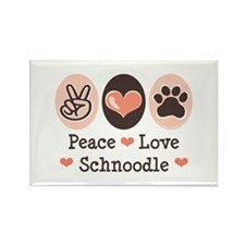 Peace Love Schnoodle Rectangle Magnet (100 pack)