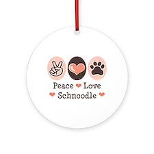 Peace Love Schnoodle Ornament (Round)
