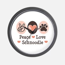 Peace Love Schnoodle Wall Clock