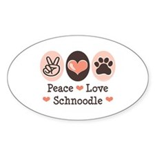 Peace Love Schnoodle Oval Decal