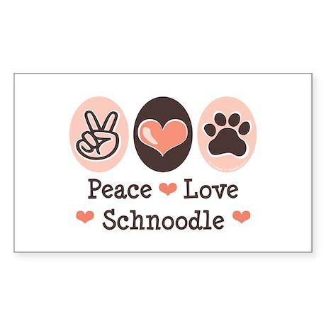 Peace Love Schnoodle Rectangle Sticker