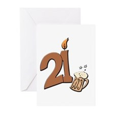 21st birthday candle & beer Greeting Cards (Pk of
