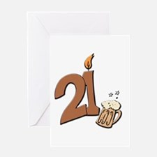 21st birthday candle & beer Greeting Card