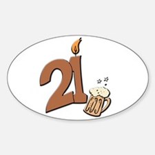 21st birthday candle & beer Oval Decal