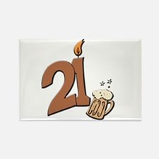 21st birthday candle & beer Rectangle Magnet