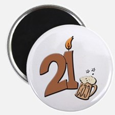 21st birthday candle & beer Magnet
