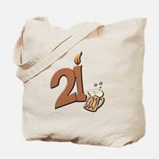 21st birthday candle & beer Tote Bag