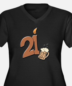 21st birthday candle & beer Women's Plus Size V-Ne