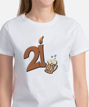 21st birthday candle & beer Women's T-Shirt