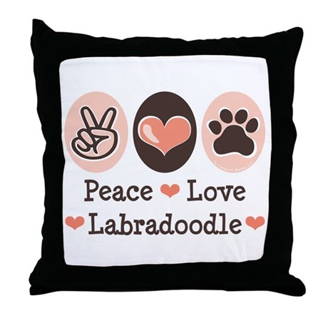 Peace Love Labradoodle Throw Pillow