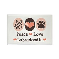 Peace Love Labradoodle Rectangle Magnet