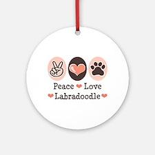 Peace Love Labradoodle Ornament (Round)