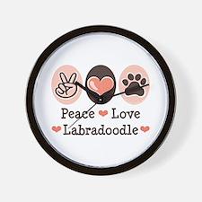 Peace Love Labradoodle Wall Clock
