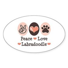 Peace Love Labradoodle Oval Decal
