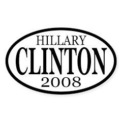 Clinton 2008 b&w oval bumper sticker