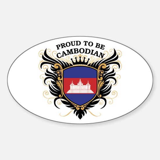 Proud to be Cambodian Oval Decal