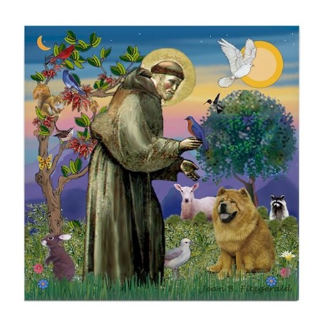 St. Francis & Chow Chow Tile Coaster