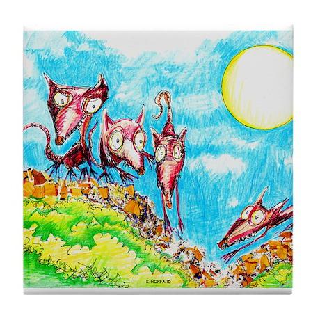 Rat Moon Tile Coaster