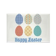 Happy Easter Decorated Eggs Rectangle Magnet (10 p