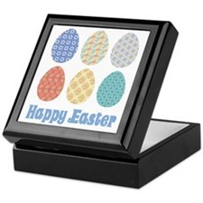 Happy Easter Decorated Eggs Keepsake Box