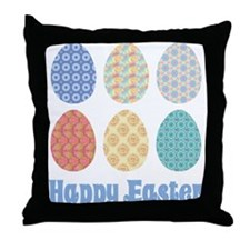 Happy Easter Decorated Eggs Throw Pillow