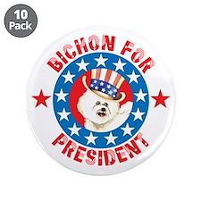 """Vote for Bichon 3.5"""" Button (10 pack)"""