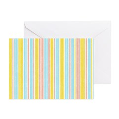 Pink, Yellow, Blue Stripe Greeting Cards (Pk of 20